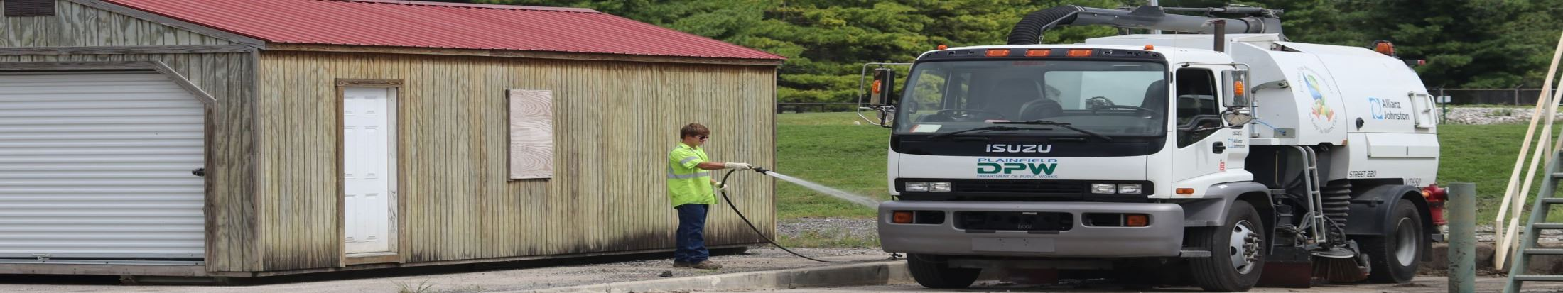 DPW Cleaning a DPW Vehicle